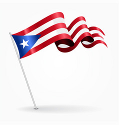 Puerto rican pin wavy flag vector