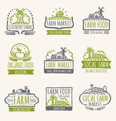 retro farm market signs vintage fresh organic vector image