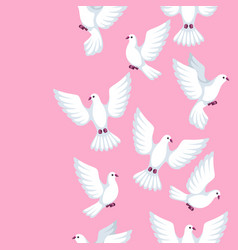 seamless pattern with white doves beautiful vector image