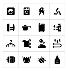 Set icons of laundry vector