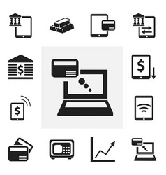 set of 12 editable finance icons includes symbols vector image vector image