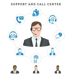 Set of call center service and support icons vector
