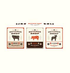 Set of templates label for butcher shop vector