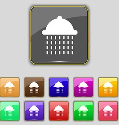 Shower icon sign set with eleven colored buttons vector