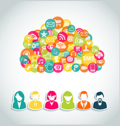 Social media cloud computing concept vector image vector image