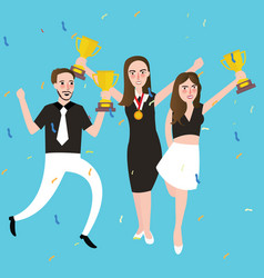 success winner team get award prize three people vector image vector image