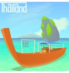 Thailand beach concept cartoon style vector