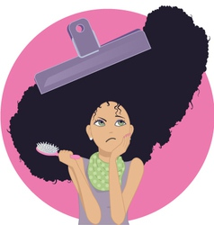 Unmanageable frizzy hair vector