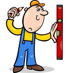 Worker with level cartoon vector