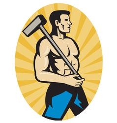 Worker with sledge hammer side view set insid vector