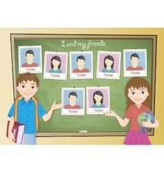 Yearbook for school about schoolgirl and schoolboy vector