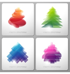 Set of abstract shiny geometrical Christmas trees vector image