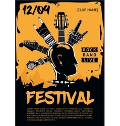 Music poster template for a rock concert punk vector