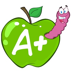 Cartoon apple with worm vector