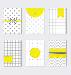 Cute assorted gray and white trendy patterns set vector