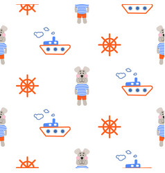 Marine boy pattern with sailor dog seamless vector