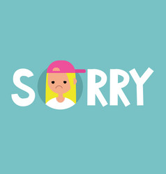 Sorry sign apologize flat editable sign clip art vector
