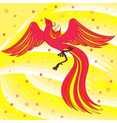 Graceful firebird on abstract background vector