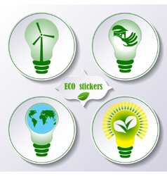 Set of stickers ecology concept vector