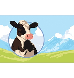 Label with a cow on a background of nature vector image