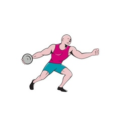 Discus thrower side isolated cartoon vector
