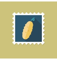 Cucumber flat stamp with long shadow vector