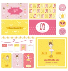 Scrapbook design elements - cute balerina set vector