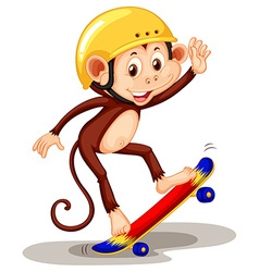 Monkey playing on skateboard vector