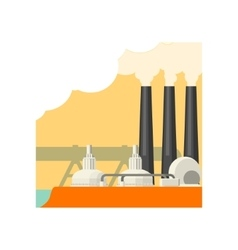 Industrial building with three chimneys vector