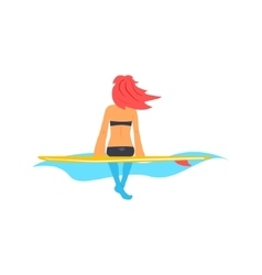 Girl sitting on surfboard in water vector