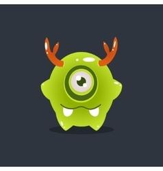 Green alien with antlers vector