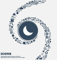 Moon icon in the center around the many beautiful vector