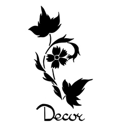 Black flower design elements decor vector
