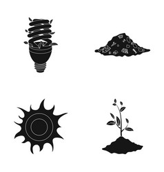 An ecological lamp the sun a garbage dump a vector