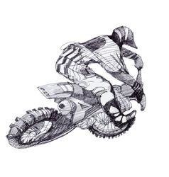 Black and white ink hand drawn motorcyclist vector