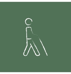 Blind man with stick icon drawn in chalk vector