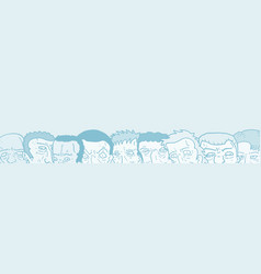 blue faces banner vector image vector image