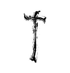 Christian cross grunge religion symbol vector