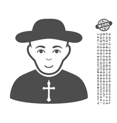 Christian priest icon with bonus vector