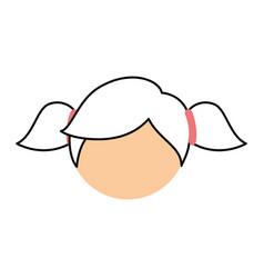 cute little girl head character vector image