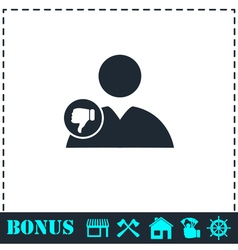 Dislike avatar icon flat vector