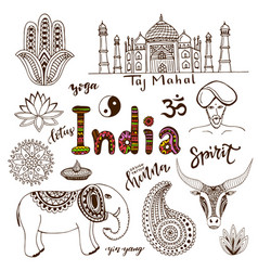 Doodle hand drawn collection of india icons vector