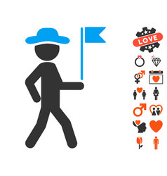 Gentleman flag guide icon with dating bonus vector