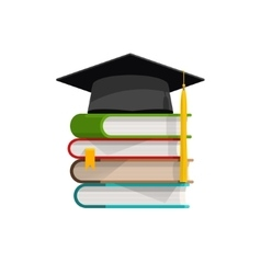 Graduation cap on pile of books stacked vector