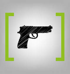 Gun sign black scribble icon vector