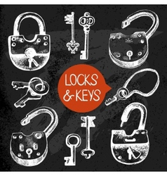 Hand drawn sketch locks and keys set vector image