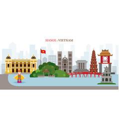 Hanoi hoan kiem lake vietnam landmarks skyline vector