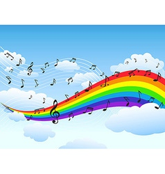 happy rainbow with music note background vector image vector image