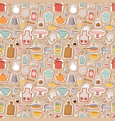 kitchen set icon seamless pattern vector image vector image