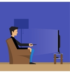 Man watching television vector